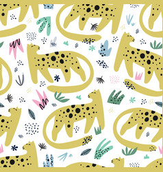 leopard flat hand drawn seamless pattern vector image