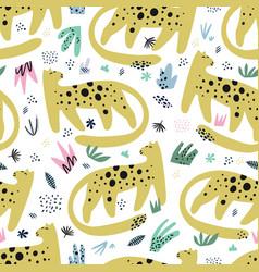 Leopard flat hand drawn seamless pattern vector
