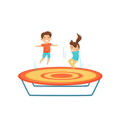 little boy and girl jumping on trampoline kids vector image