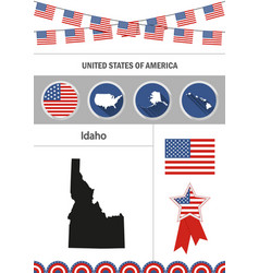 Map of idaho set of flat design icons nfographics vector