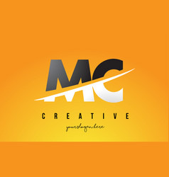 Mc m c letter modern logo design with yellow vector