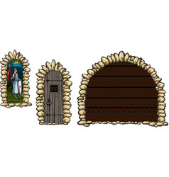 Medieval windows and doors vector
