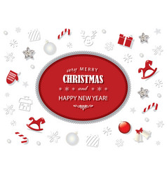 merry christmas and new year card template with vector image