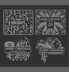 merry christmas monochrome sketches with gifts vector image