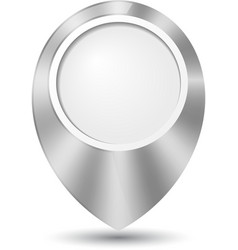 Metal round 3D map pointer vector image