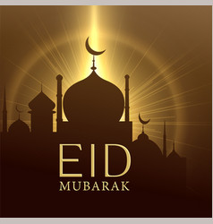Mosque with glowing light eid mubarak greeting vector
