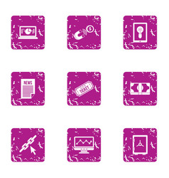 Newsroom icons set grunge style vector