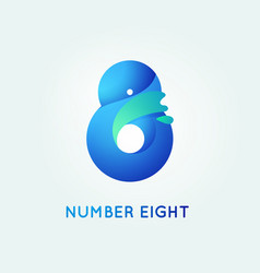 number eight in trend shape style vector image