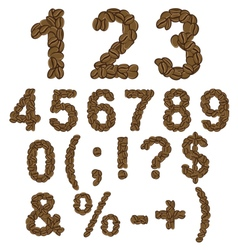 Numbers and symbols of coffee vector