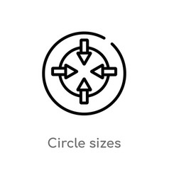 Outline circle sizes icon isolated black simple vector