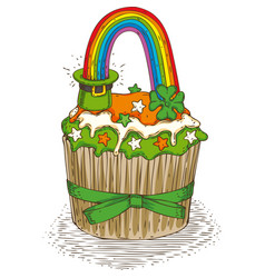 patrick day cupcake vector image vector image