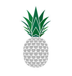 pineapple with hearts tropical silver exotic vector image