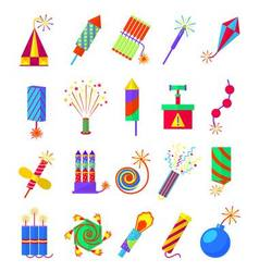 Pyrotechnics burning firework colored icons vector image