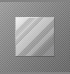 realistic square glass blank mirror or window vector image