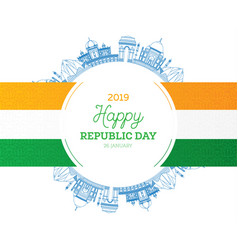 republic day in india 26 january and indian flag vector image