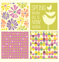 Retro spring designs and seamless patterns vector