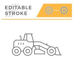 road grader line icon vector image
