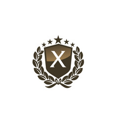 Royal vip shield leaf initial x vector