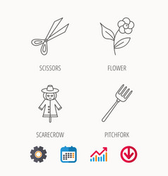 Scissors flower and pitchfork icons vector