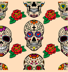 Seamless pattern with mexican sugar skulls and vector