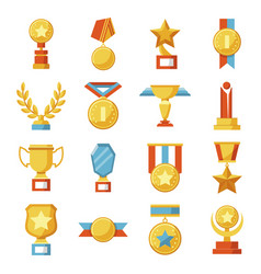 set of medals and cups awards golden sport vector image