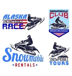 Set of winter snowmobile emblems badges and icons vector image