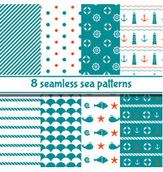 set sea seamless patterns vector image