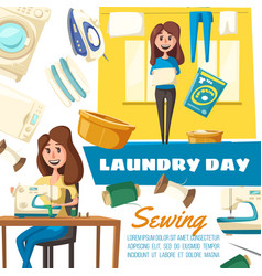 sewing and laundry household chores vector image