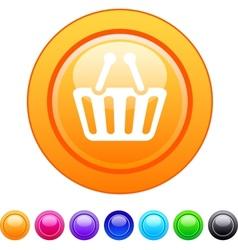 Shopping cart circle button vector image