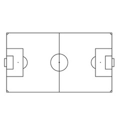 soccer field in line style football pitch black vector image