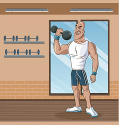 Strong man sport attitude weight vector