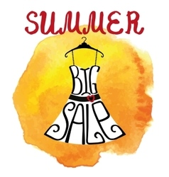 Summer big Sale letteringDresswatercolor yellow vector image