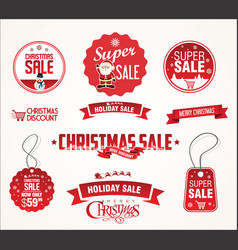 Super sale christmas badges and labels collection vector
