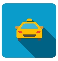 Taxi Car Flat Rounded Square Icon with Long Shadow vector
