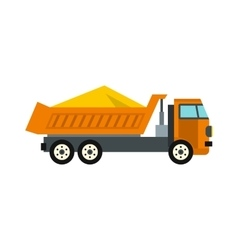 Truck with sand icon flat style vector image