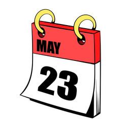 Twenty three may in calendar icon cartoon vector