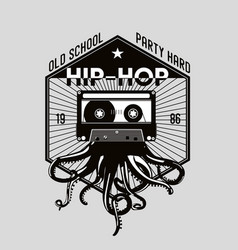 vintage music emblem octopus tentacles and audio vector image