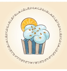 Watercolor cupcake with orange slice vector