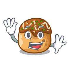 Waving takoyaki character in octopus balls food vector