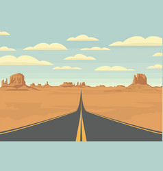 western desert landscape with empty straight road vector image