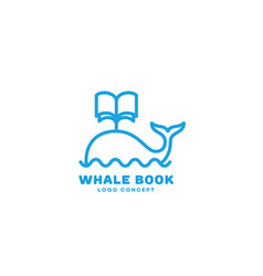 Whale book logo vector