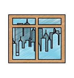 window with city background vector image