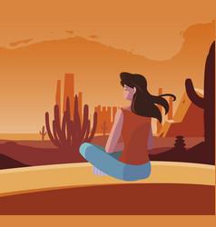 Woman contemplating horizon in desert scene vector