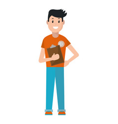 Young man with checklist vector
