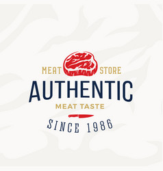 authentic meat store vintage typography label vector image