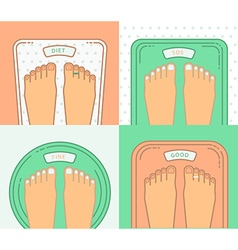 Bathroom scales with legs Overweight banner design vector image
