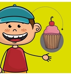 boy cup cake bakery vector image