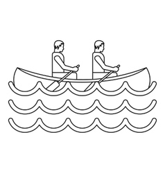 Canoe kayak with two persons icon simple style vector