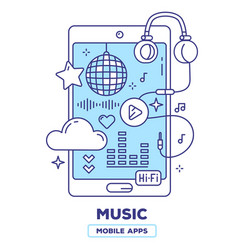 Creative of mobile phone with headphones play vector