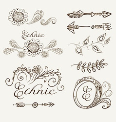 Set of ethnic elements on a beige background vector image vector image